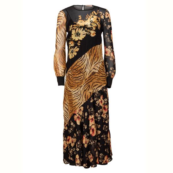 STARKER KONTRAST Tigerpatchwork und Blumenprint verleihen dem Kleid von Twinset einen Hauch Extravaganz.