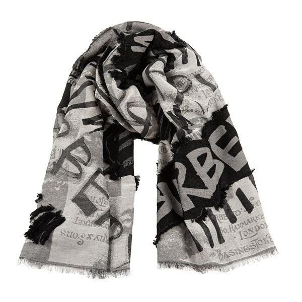 BESCHRIFTET: Grau-schwarzes Tuch mit Burberry-Schriftzug von Burberry